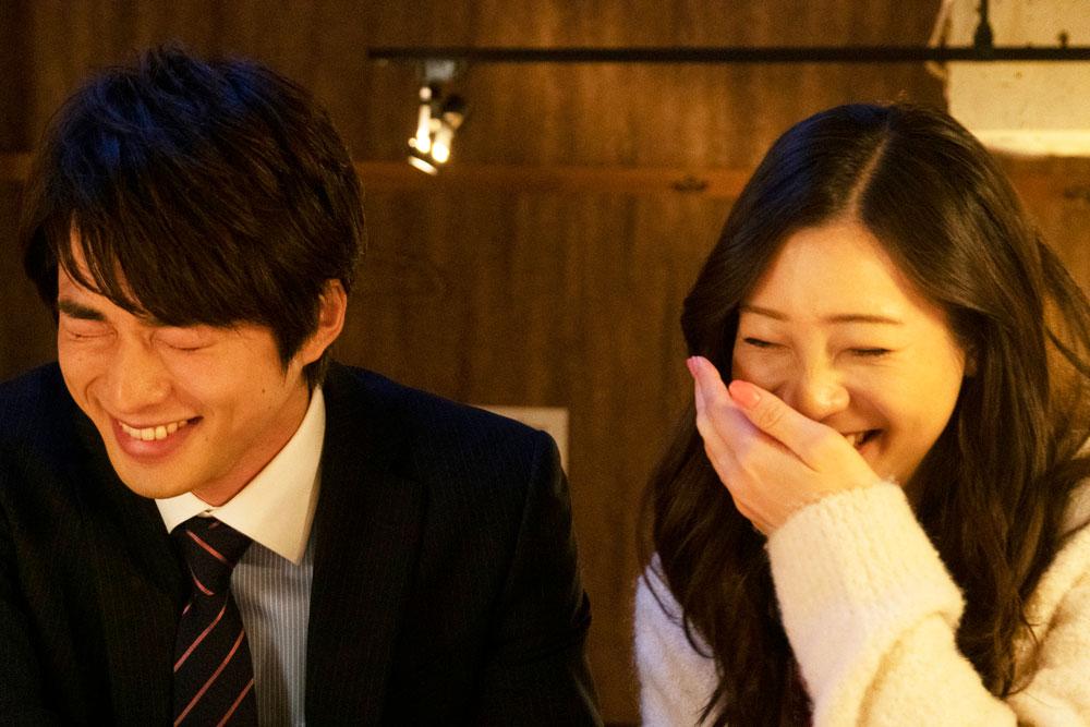shirasu jin and adachi rika laughing